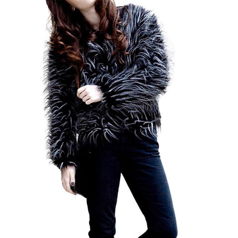 Fashion Women Coats fur ostrich hair Winter Warm Thick Coat Jacket Velvet Faux Fur Outwear Cardigan Solid O-Neck Black