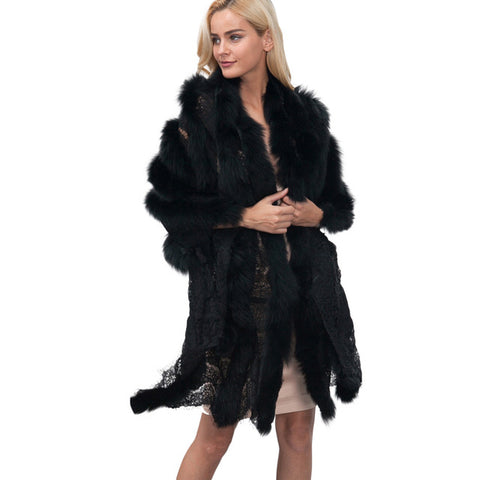 Fashion Coat Ladies Womens Lace Warm Faux Fur Coats Pashmina outwear Shawl Winter Parka Wrap Outerwear Black Femal clothing