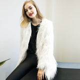 Women's Winter Warm Long Faux Fur Fox Coat Jacket Casacos Femininos Long Sleeve Parka Hair Jacket Coat Outerwear Plus Size#212