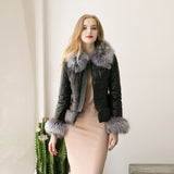 Natural Fur New Winter Women's Down Cotton Parka Fur Collar Zipper Coat High Quality Quilted Jacket Chaqueta Cuero Mujer#21