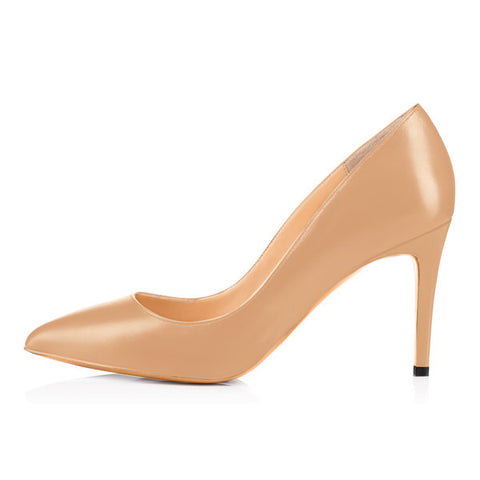 Onlymaker 3.5 Inches 8.5cm Thin High Heel Women's Pumps Shoes Sexy Pointed Toe Wedding Shoes Party Pumps patent leather Shoes