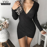 Sexy Women Cross V Neck Autumn Winter Knitted Long Sleeve Dress Ladeis Bodycon Bottom Basic Evening Party Sexy Mini Dresses#1016