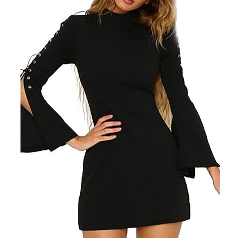 MUQGEW High Recommend Women Autumn New Casual Solid Bandge Flare Sleeve Zipper Mini Dress white dress womens clothing vestido