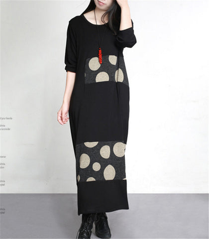 Yesno JT3 Women Long Loose T-shirt Dress Casual Knitting Spliced Crew Neck Long Sleeve Side Pockets