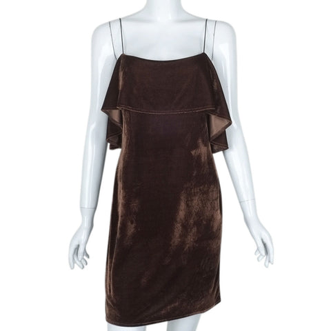 Womens Velvet Brown Color Dress Sleeveless Harness Dress Ladies Fashion Slim Dress roupa feminina vestidos 2017 herfst jurkjes