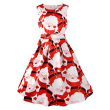 Vestidos Mujer 2017 Red Christmas Women Print Pin Up Swing Party Panel Dress Ladies Sleeveless Autumn Winter Dresses #1102