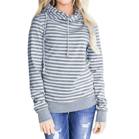 New Arrivals Womens Long Sleeve Hoodie Sweatshirt Striped Hooded Tops Blouse plus size women clothing blusa feminina camisas