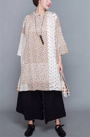 Yesno QS1 Women Long Floral Blouse 100% Cotton Casual 'A' Skirt Small Stand Collar 3/4 Sleeve Slit Sides