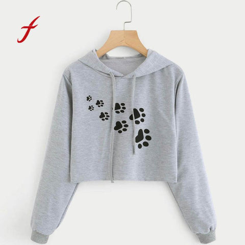 FEITONG Hoodies For Women Loose Gray Cat Footprint Print Short Hooded Tops Blusa Autumn Winter High Quality Sweatshirts Female
