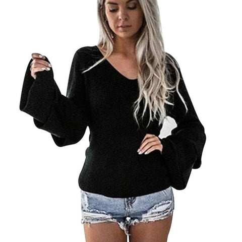 Women Slim Sexy V Neck pullover Women Long Sleeve Knitted Pullover Loose Jumper Tops Knitwear elastic Female Clothing