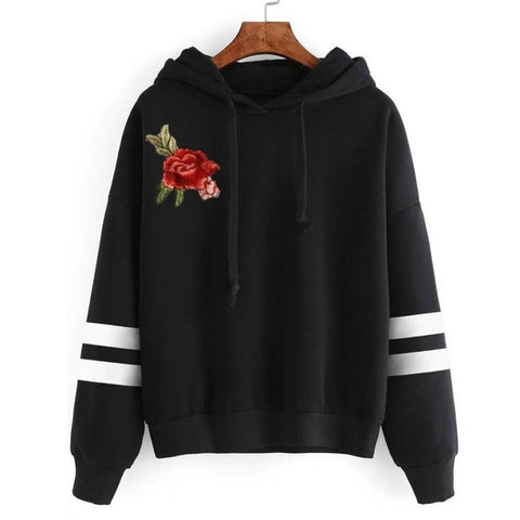 Women Sweatshirt Rose Floral Embroidery Applique Long Sleeve Hoodie Jumper Hooded Pullover Sudaderas Mujer