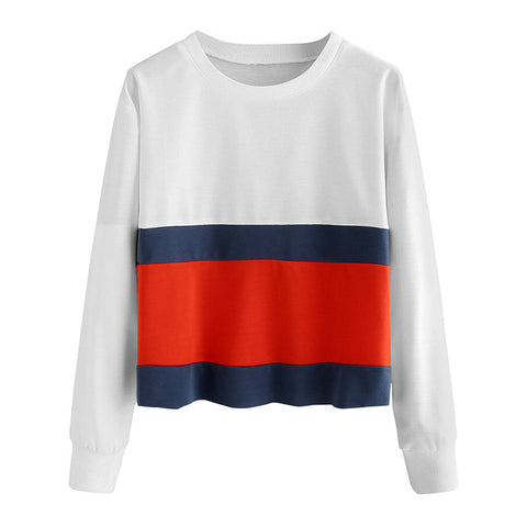 Women Sweatshirt Multicolor Striped Womens Drop Long Sleeve Tops O-Neck Pullover Felpe Donna Tumblr