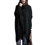MUQGEW 2017 Top Fashion Women's Fashion Turtleneck Asymmetric Hem Long Sleeve Sweater winter clothes women robe pull