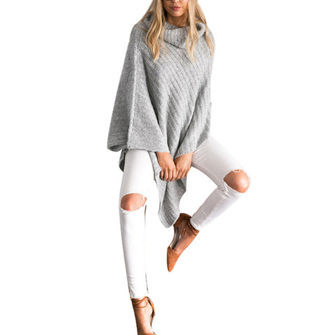 US 2017 New Women Sweaters And Pullovers Autumn Turtlenect Loose Knitted Sweater Solid O-Neck Casual Jumper Tops Shawl