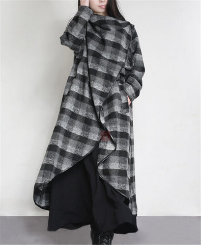 Yesno JT1 Women Loose Plaids Wool Coat Cardigan Open Front Casual Overcoat Outerwear Long Sleeve Side Pockets