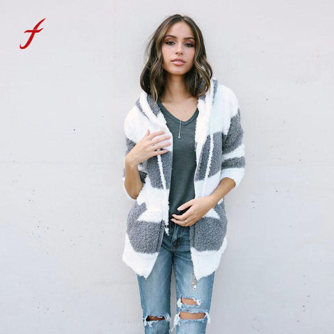 FEITONG  Autumn Winter Jacket Women Hooded Spliced Color Coat Jackets Hoodies Parka Outwear Cardigan Black and white fight Coat