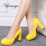 9 Color Spring/Autumn women pumps sexy Round Toe party platform high heels big size 32-43 Slip-On ladies shoes zapatos mujer 385