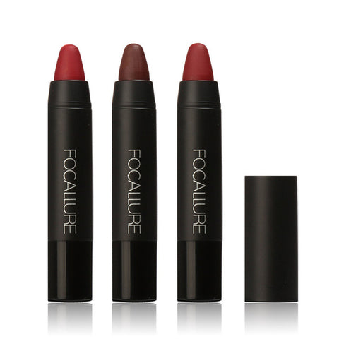 FOCALLURE 3 Color Lipstick Matte Waterproof Long-lasting Velvet Silky Lipstick Pen Pencil Lip Sexy Makeup Cosmetics maquiagem