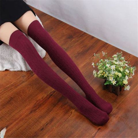 socks women knee high 1 Pair New Cotton Women Knit Over Knee Thigh Stockings Spiral Pattern High Sports Socks
