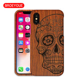 BROEYOUE Case For iPhone X Wood Cases CoqueCustom Carving Cover Fundas Bags Drop Shipping 100% Natural Bamboo Wooden Cover Capa