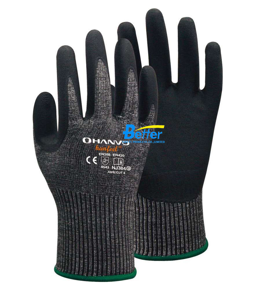 Free Shipping HPPE Foam Nirile Palm Coated Safety Glove HANVO CE EN 388 Cut 5 Resistant Work Glove