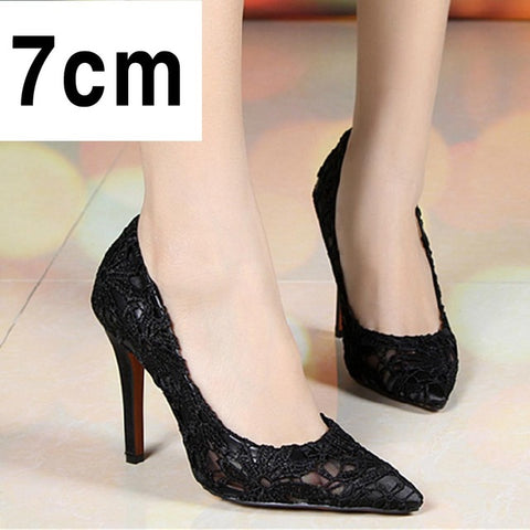 WEIQIAONA Women Thin Heels Pumps Sexy Laces Flower Mesh Hollow Pointed Toe High Heels shoes Lady Wedding Bridesmaids Party Shoes