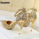 Sexy High Heels Shoes Woman Pumps Red Gold Silver Thin High Heels Shoes Metal Heels Luxury Ladies Wedding Party Shoes 2017