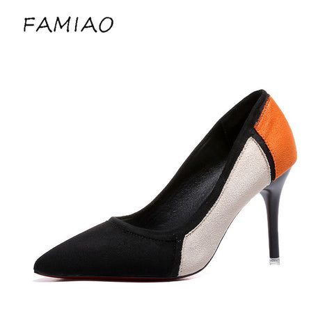 FAMIAO Mixed Color Pointed Toe High Heels Shoes Autumn Wedding Female Simple Women's Pumps Dress Heels Shoes zapatos mujer tacon