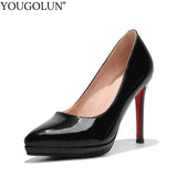 YOUGOLUN Women Pumps New Office Lady High Thin Heels Elegant Woman Red Sole Bottom Pink Black Pointed toe Party Shoes #A-064