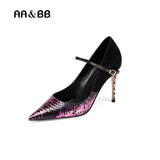AA&BB mix color cow leather shoes woman shallow thin heels elegant 9.5cm high heels slip-on pumps basic party women shoes