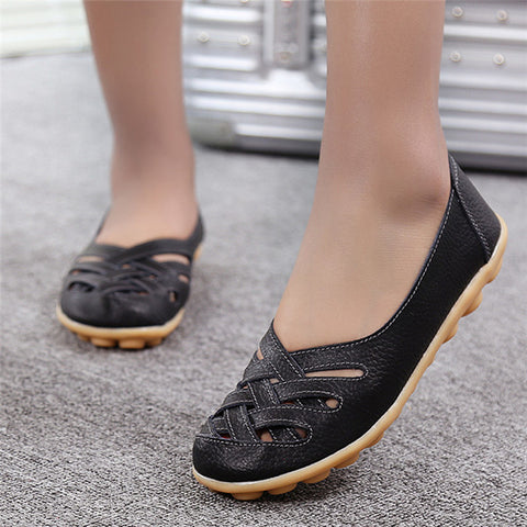 2017 New Fashion Summer Woman Flats Cut-outs Breathable Flats Shoes Solid Color Comfortable Round Toe Women Casual Shoes YST181