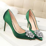 Women Shoes 2018 Sexy Pumps Silk Rhinestone Pointed Toe Wedding Shoes Designer Luxury Brand Bigtree Shoes Ladies High Heels Red