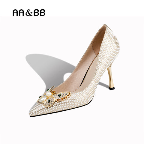 AA&BB spring and autumn crystal butterfly-knot shoes woman shallow sexy thin heels shoes elegant 8.5cm high heels slip-on pumps