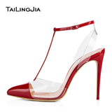 Sexy High Heel Pointed toe Slingback Dress Heels Transparent PVC Stiletto Pumps T strap Studded Party Shoes Nude Gold Red Black