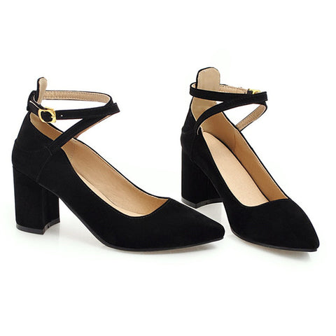 MoonMeek 2018 summer spring pointed toe with buckle high heels women pumps square heel flock casual dress women shoes