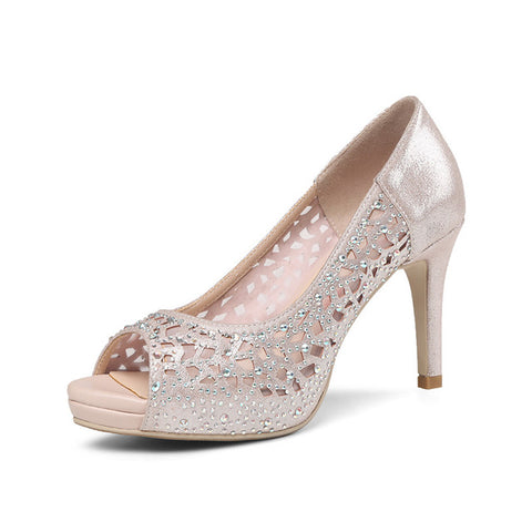 KarinLuna 2018 summer fashion sexy women crystal microfiber pumps platform high heels shallow party wedding shoes woman