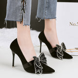 HENGSCARYING Woman 10cm High Heels Crystal Shoes Pointed Toe Wedding Flock Pumps Female Escarpin Butterfly-knot Strass Pumps