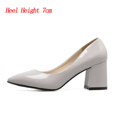 HENGSCARYING Plus Size 42 43 Women 7cm Medium Block High Heels Pumps Patent Leather Heels Female Chunky Office Pointed Toe Shoes
