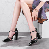 Lasyarrow Thick High Heels Wedding Shoes Gladiator Shoes Woman T-strap Dress Pumps Cut Outs Sexy Pointed Toe Party Shoes RM234