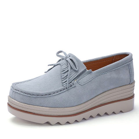 WeiDeng Bowknot Platform Sneakers Suede Leather Creepers Women Flats Thick Bottom Casual Shoes Female Breathable  Moccasins 2018