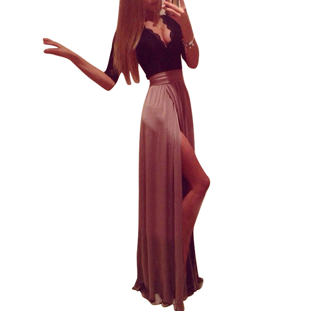 2017 New Lady Sexy Lace Bandage Party Clubwear Women Long Sleeve Maxi Long Side Slit Dress with bow belt