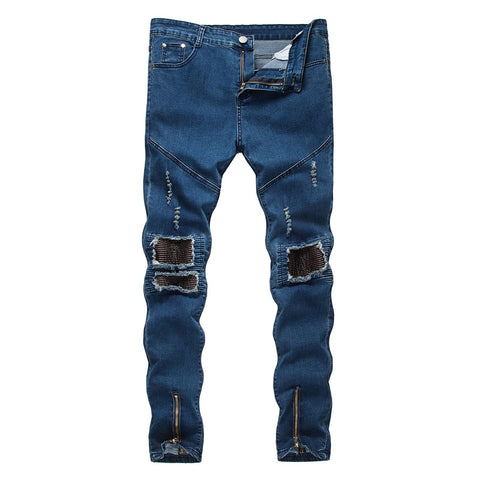 Men Jeans Stretch Destroyed F ake Zippers Ripped Design Fashion Ankle Zipper Skinny Jeans For Men Pencil Pants