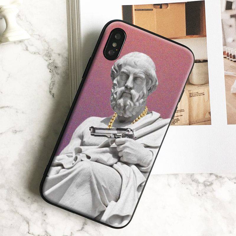Fashion Plato Gang funny painting Soft Silicone Tpu Phone Case Cover Shell For Apple iPhone 5 5s Se 6 6s 7 8 Plus X XR XS MAX