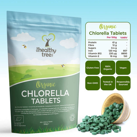 كلوريلا عضوية 500 مج 300 قرص - The Healthy Tree Organic Chlorella 300 Tablets