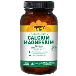 Country Life Calcium Magnesium Complex 180 Tablets - كونتري لايف كالسيوم مغنيسيوم 180 قرص