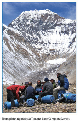 Team planning meet at Tilman's Base Camp on Everest.