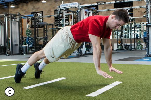 Figure 5.1 Jump push-up in start position, at end of countermovement, and after ballistic concentric action.