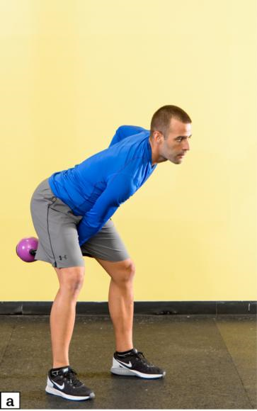 Figure 4.40 KB single-arm swing: starting position; swing kettlebell up.
