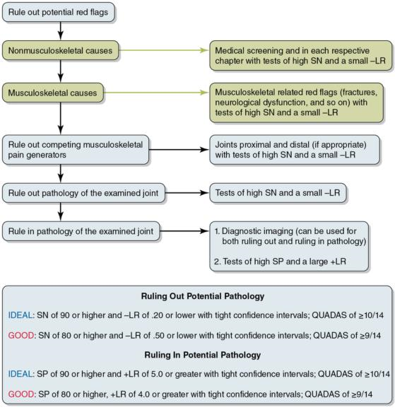 Figure 4.2 Algorithm approach for use of special tests or findings reporting SN and SP. SN = sensitivity; SP = specificity; +LR = positive likelihood ratio; -LR = negative likelihood ratio