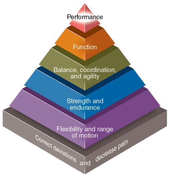 Figure 1.2 Pyramid demonstrating the elements and progression of a rehabilitation program, one parameter advancing from the foundation set by the previous parameter.